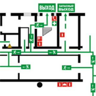 схема пожарного выхода в школе